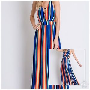 SMALL ONLY BOLD Stripe Open Back Maxi